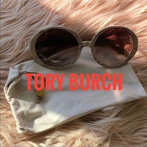 Authentic Tory Burch snakeskin round sunglasses